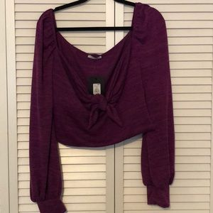 Purple knit long sleeve front knot fashion nova 2x